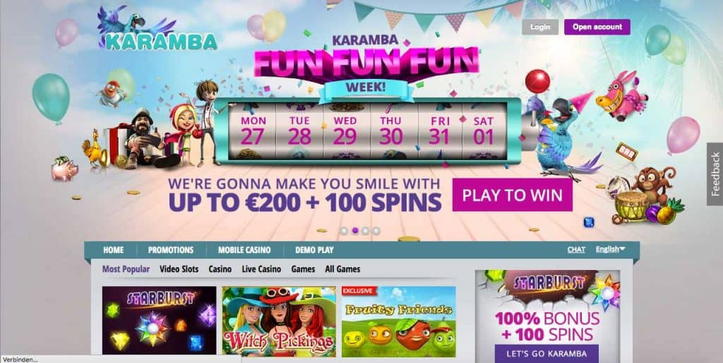 karamba casino screenshot