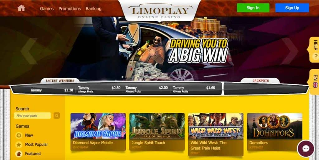 limoplay casino screenshot